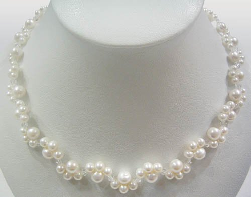 16'' white freshwater pearl & crystal necklace