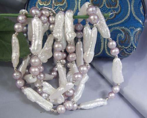 50'' white biwa freshwater pearl necklace