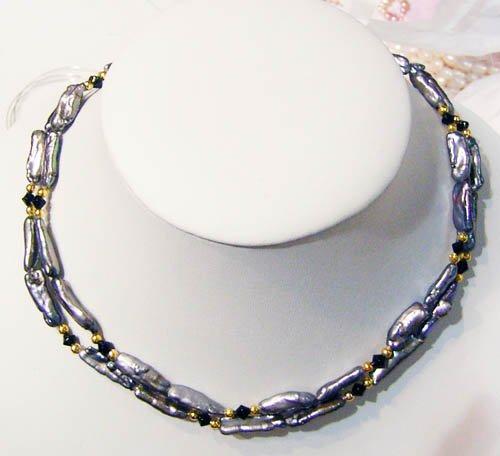 2 strand black biwa freshwater pearl necklace