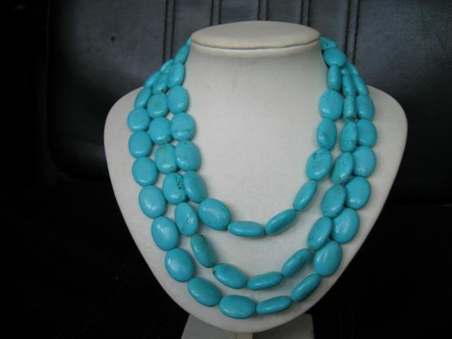 3 strand blue turquoise bead necklace