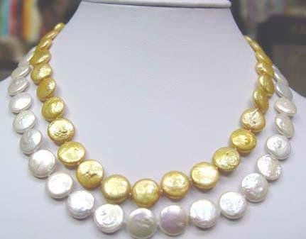 2 rows white and golden coin pearl necklace