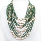 8 strands green pearl & pink coin pearl necklace