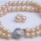 7mm Genuine Pink Pearl Bracelet Earring Set