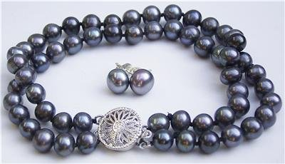 7mm Genuine Black Pearl Bracelet Earring Set