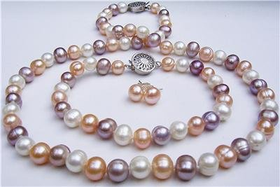 8mm Multicolor Pearl Necklace Bracelet Earring Set