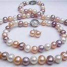 8mm Multicolor Pearl Necklace Bracelet Earring Set
