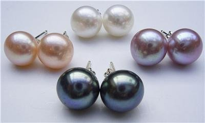 4 Pairs 9.5mm Multicolor Genuine Pearl Earrings