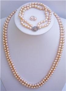 2 Strand Pink Pearl Necklace Bracelet Earring Set