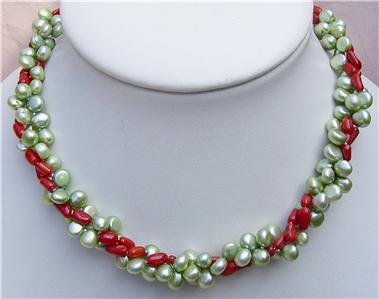 16'' 3 Strands Green Pearl Red Coral Necklace
