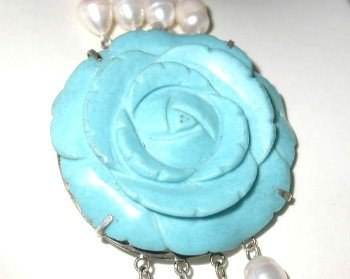 1 pc turquoise carved flower clasp