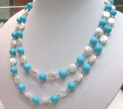 40'' coin freshwater pearl turquoise bead necklace