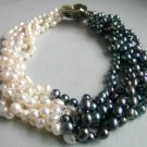 """17"""""""" white black freshwater pearl necklace shell clasp"""