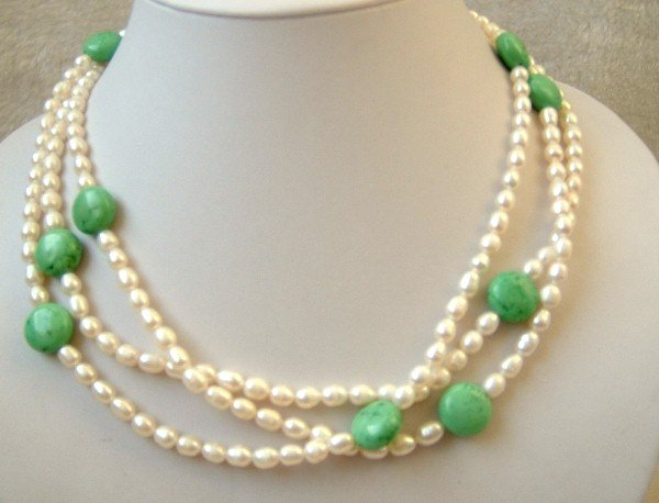3 strands white freshwater pearl and turquoise necklace