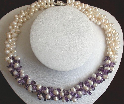 "16"""" Purple crystal and white pearl necklace"