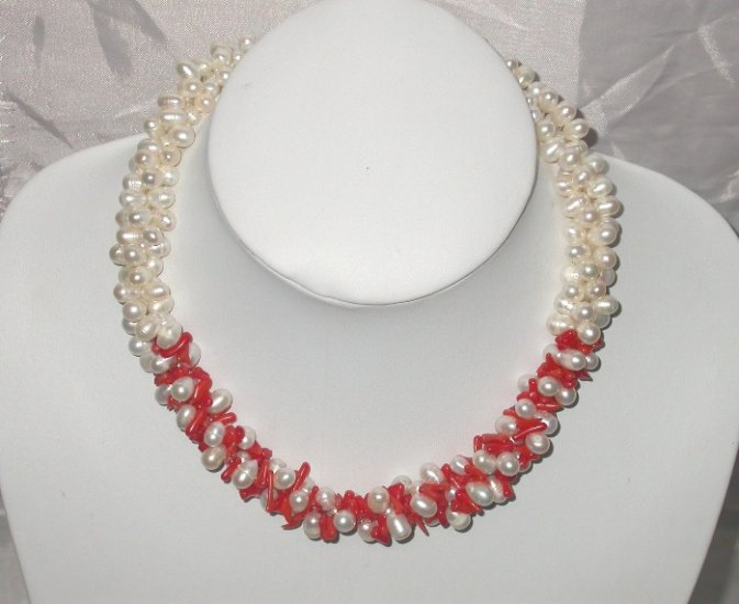 16'' Red coral and white freshwater pearl necklace