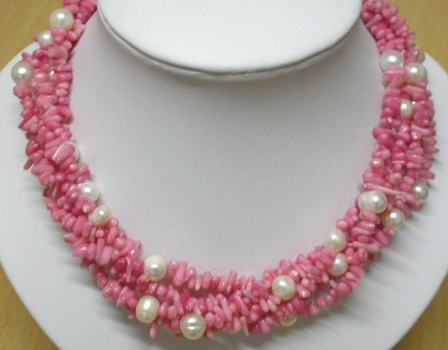 16'' Pink coral and white pearl necklace