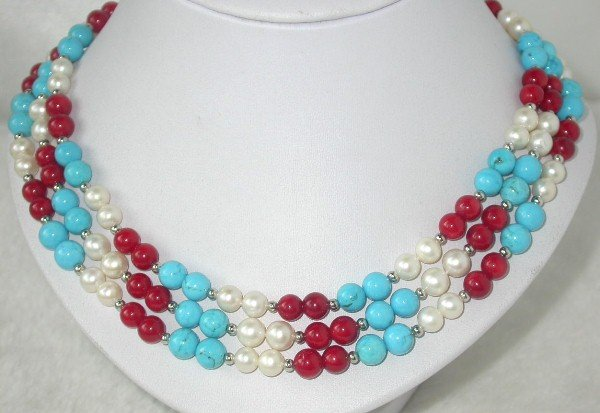 3 row pearl turquoise coral bead necklace
