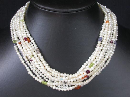 8 row 3.5mm white freshwater pearl necklace