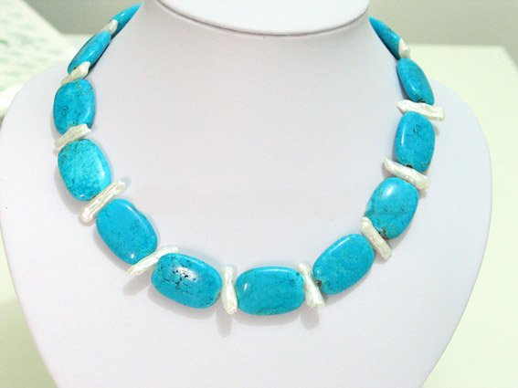 Blue turquoise and biwa pearl necklace