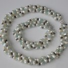 3 row white rice pearl and crystal necklace set