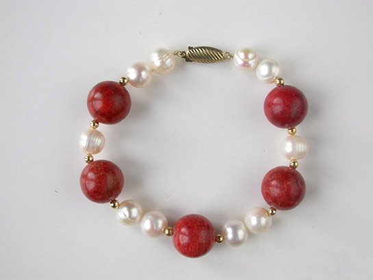 12mm sponge coral and white pearl bracelet