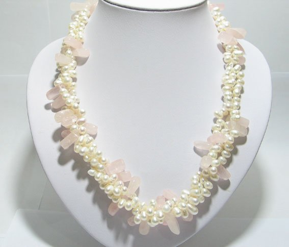 19'' 3 row white freshwater pearl and pink jade necklace