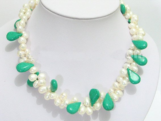 2 row rice pearl and green turquoise necklace