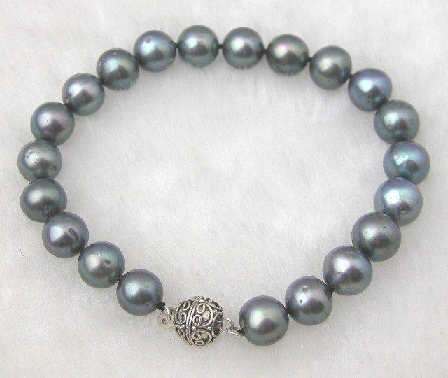 Big 9-10mm Natural Black Fw Pearl Bracelet
