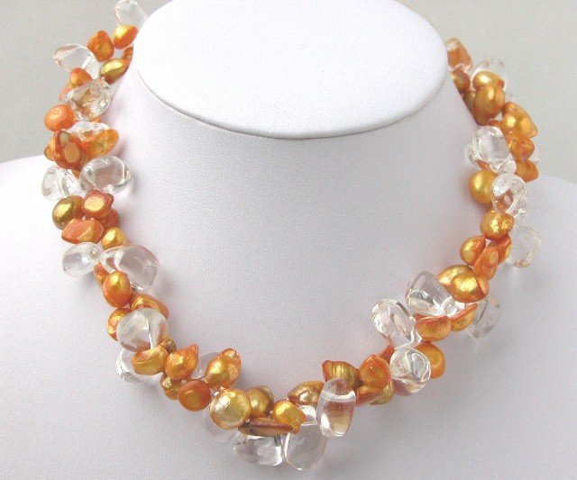 2 Strands Barpque Orange FW Pearl & White Crystal Necklace