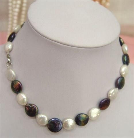 black and white 12mm coin pearl necklace