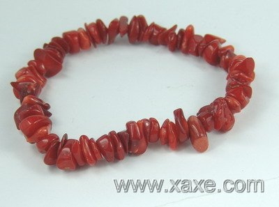 lovely red coral chip bracelet