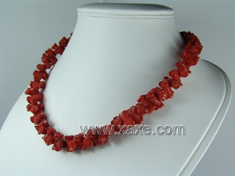 Lovely red coral rose necklace