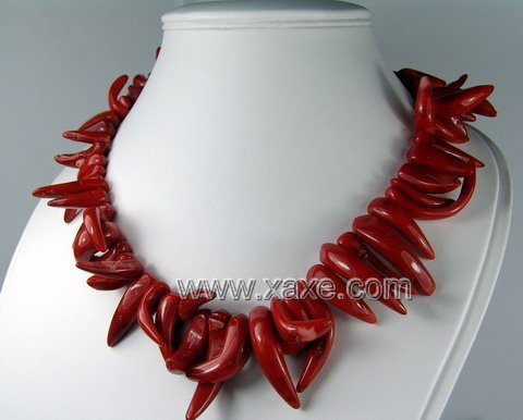 Lovely red coral long teeth necklace