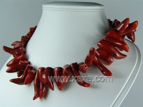 Lovely red coral teeth necklace