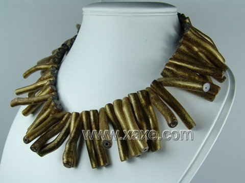 Lovely golden sponge coral branch necklace