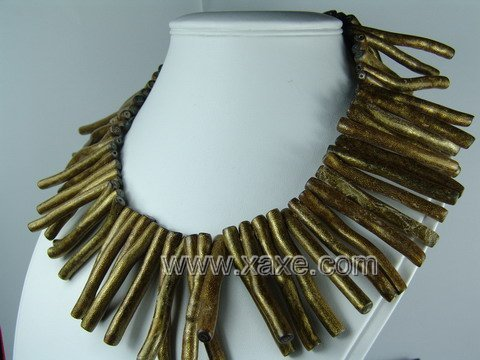 Lovely long golden sponge coral necklace