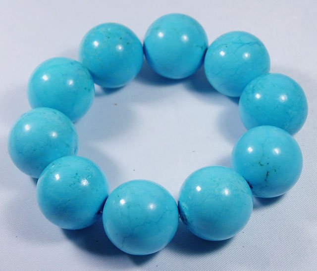 Excellent 20mm natural blue turquoise bracelet