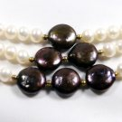 3row white/black cultured pearl neckalce