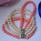 5Rows 6mm Round Cultured Pearl & coral Bracelet