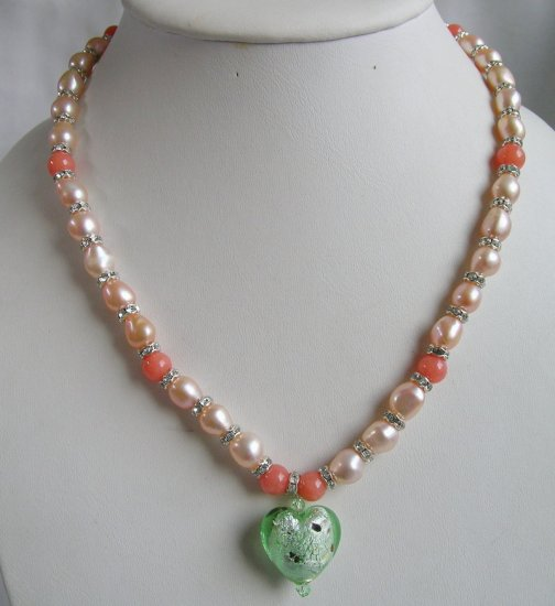 Pink Pearl Necklace 19.5 inch with green glaze heart Pendent