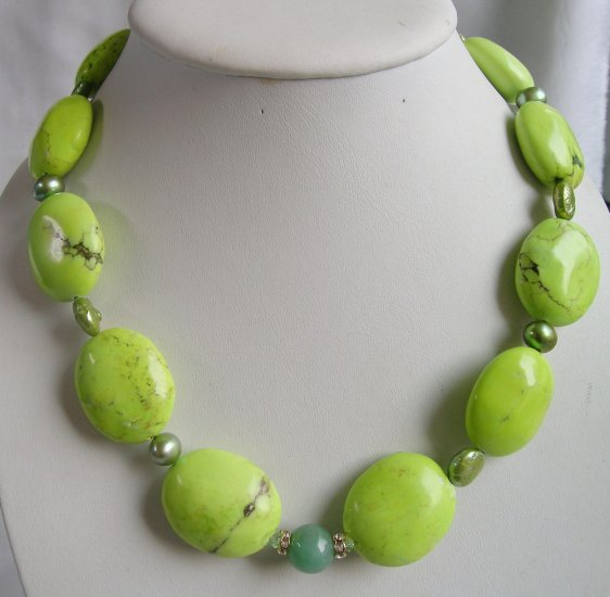 Huge Turquoise & Pearl & Jade Necklace 21 inch