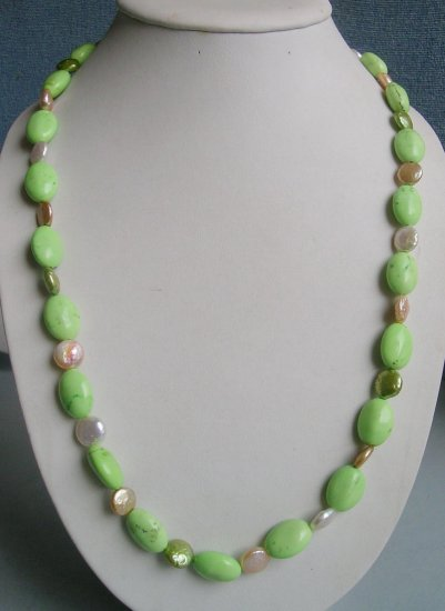 Turquoise & Coin Pearl Necklace 27 inch