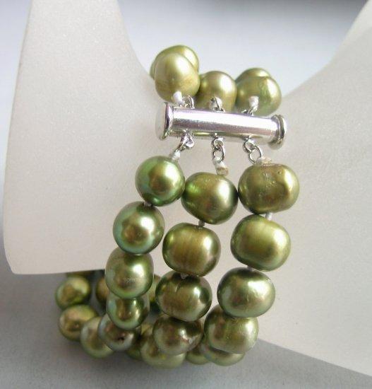 3 Strands 9-10mm Army green Potato FreshWater Pearl Bracelet