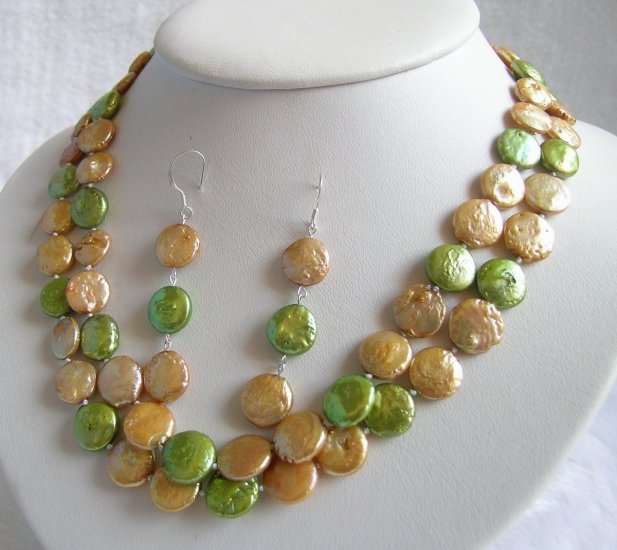 Double Strands 11-12mm Golden&Green Coin Pearls Necklace