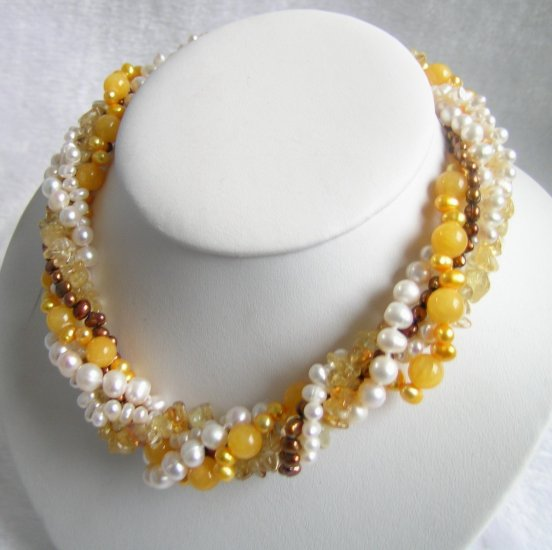 5 Strands Pearls Crystal & Jade Necklace 16 inch