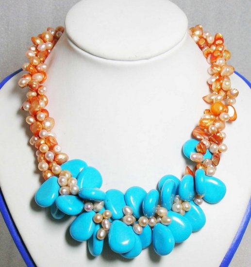 3 strands Orange Pearls & Turquoise Necklace