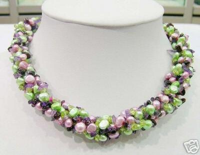5 Strands Pearl&Olivine&Garnet&Amethyst Necklace