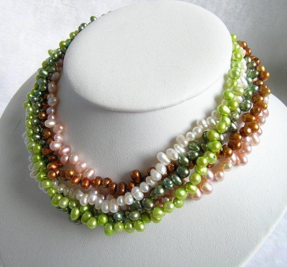 5 Strands Multicolor Pearls Necklace 18 inch