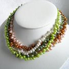 5 Strands Multicolor Pearls Necklace 18 inch
