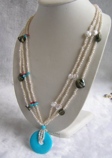 3 Strands White Pearl & Shell & Turquoise Necklace